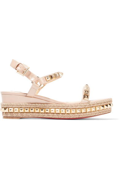 buy online 474ab f9ee9 Cataclou 60 embellished patent-leather wedge espadrille sandals