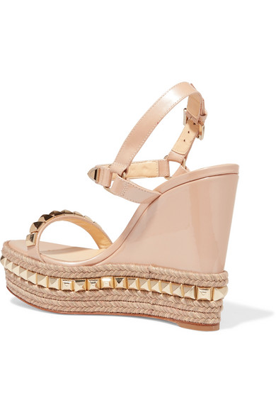 d0e771b93bf Christian Louboutin | Cataclou 120 studded patent-leather wedge ...