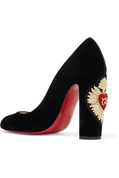 separation shoes 4f2fc d66b6 Christian Louboutin | Cadrilla Corazon 100 appliquéd velvet ...