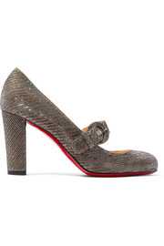 Christian Louboutin Fyalta 85 glittered canvas Mary Jane pumps
