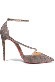 Christian Louboutin Fliketta 100 glittered canvas pumps