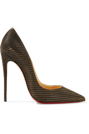 Christian Louboutin So Kate 120 metallic canvas pumps
