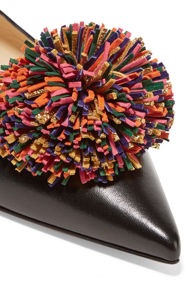 2cf0901eb13 Christian Louboutin. Konstantina pompom-embellished leather point-toe flats.  £545. Zoom In