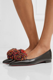 Christian Louboutin Konstantina pompom-embellished leather point-toe flats