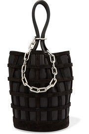Roxy Cage chain and suede-trimmed leather bucket bag