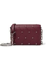 Attica Biker studded textured-leather shoulder bag