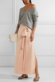 Almeria satin wrap maxi skirt