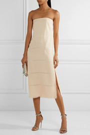 Clarence strapless devoré silk midi dress