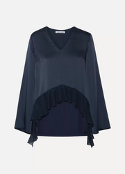 Elizabeth and James Heath ribbed knit-trimmed satin-crepe blouse