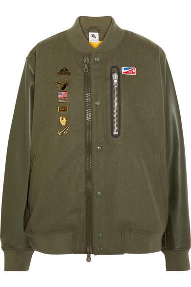 + Riccardo Tisci Embellished Appliquéd Wool-Blend Felt And Faux Leather Bomber Jacket in Army Green