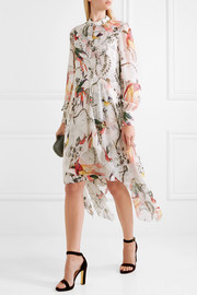 Kaylah asymmetric printed silk-georgette dress