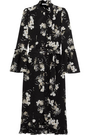 Siren ruffled floral-print silk crepe de chine midi dress