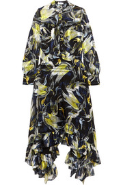 Niamh ruffled printed silk-chiffon midi dress