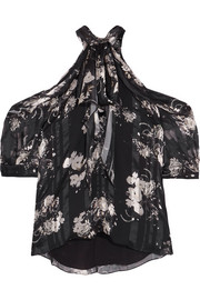 Erdem Elin cold-shoulder printed silk-jacquard blouse