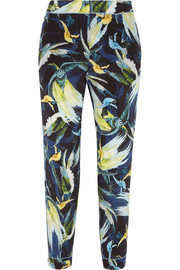 Giulia cropped printed silk slim-leg pants