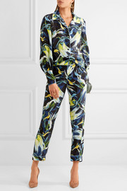 Erdem Giulia cropped printed silk slim-leg pants