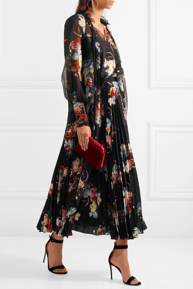 e702697be Erdem | Nesrine pleated floral-print crepe de chine midi skirt | NET ...