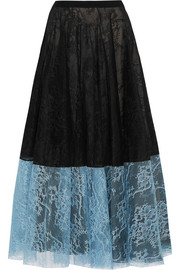 Nesrine two-tone lace midi skirt