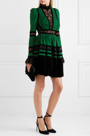 Lace and velvet-paneled pleated crepe mini dress