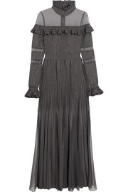 Elie Saab Ruffled metallic stretch-knit and tulle gown