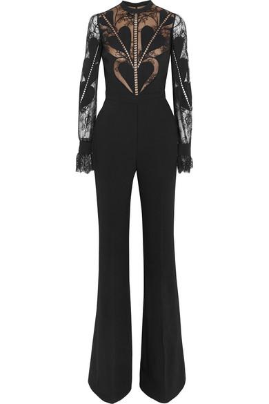 03c470bb9d3 Elie Saab. Lace-paneled crepe jumpsuit