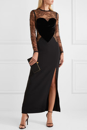 Elie Saab Velvet-appliquéd lace and crepe gown