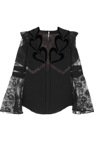 Elie Saab - Ruffled Chiffon, Lace And Velvet Blouse - Black