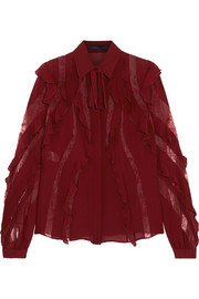 Lace-trimmed ruffled silk-blend crepe de chine blouse