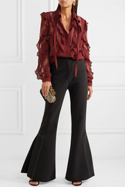 Elie Saab Lace-trimmed ruffled silk-blend crepe de chine blouse
