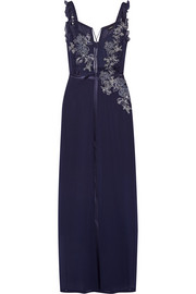 La Perla Peony embroidered satin-trimmed stretch-silk and tulle nightdress