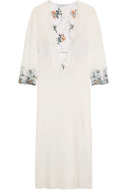 La Perla Hampton Court embroidered lace-paneled stretch-silk georgette nightdress