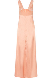 Azalea crepe and Leavers lace-trimmed satin nightdress