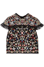 Needle & Thread Posy cropped embroidered tulle top