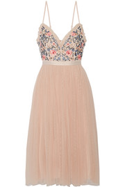 Needle & Thread Whisper open-back embellished chiffon and tulle midi dress