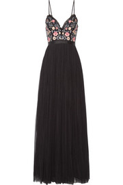 Needle & Thread Whisper open-back embellished chiffon and tulle gown