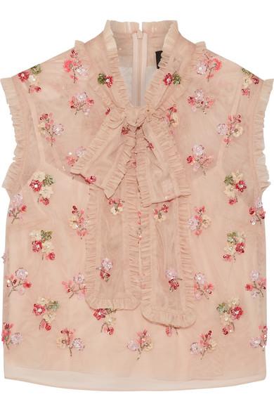 Needle & Thread - Ditsy Pussy-bow Embellished Tulle Blouse - Blush