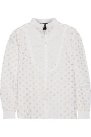 Ditsy embroidered cotton blouse
