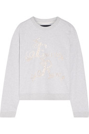 Needle & Thread English Rose embroidered cotton-blend jersey sweatshirt