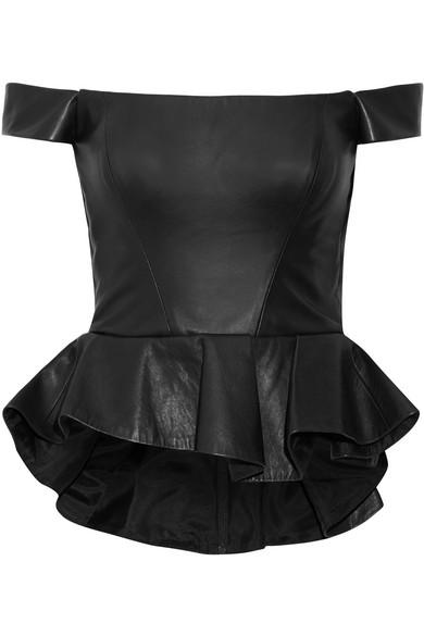 3415efc7bb58c1 Reem Acra. Off-the-shoulder leather peplum top