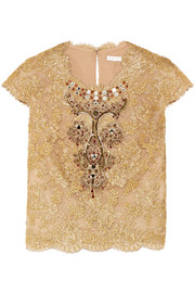 Embellished cotton-blend lace and tulle top