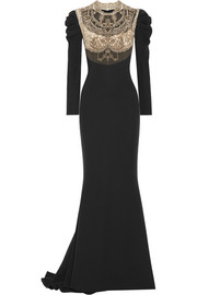 Embellished tulle-paneled silk crepe de chine gown