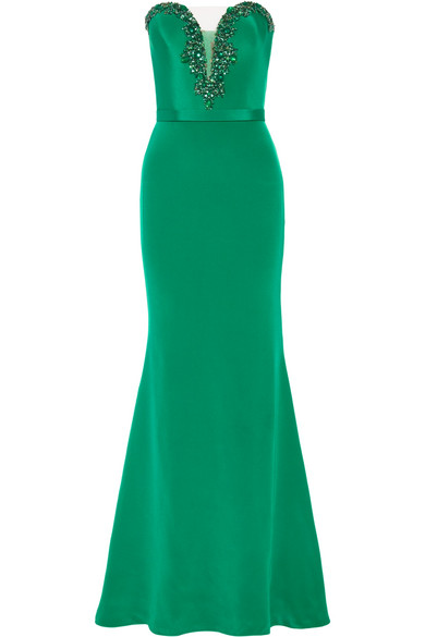 Cheap Sale Extremely 100% Guaranteed Sale Online Tulle-trimmed Embellished Silk Gown - Emerald Reem Acra Clearance Discounts Buy Cheap Outlet 34q3gj