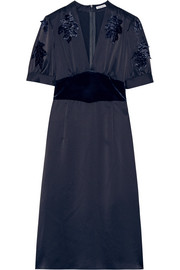 Tomas Maier Velvet-appliquéd charmeuse dress