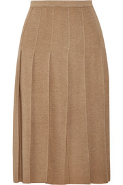 Pleated wool midi skirt