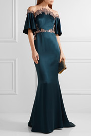 Marchesa Embellished tulle-trimmed silk-satin gown