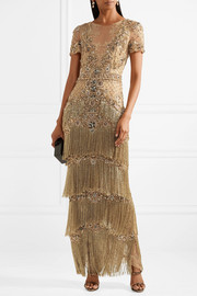 Marchesa Embellished fringed lace-trimmed tulle gown