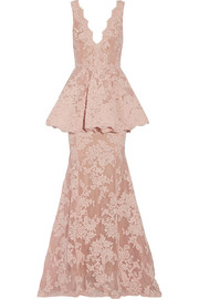 Marchesa Tulle-paneled guipure lace peplum gown
