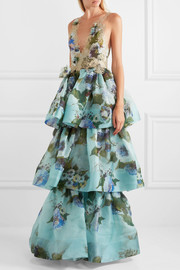 Marchesa Tiered floral-print silk-organza and appliquéd lace gown
