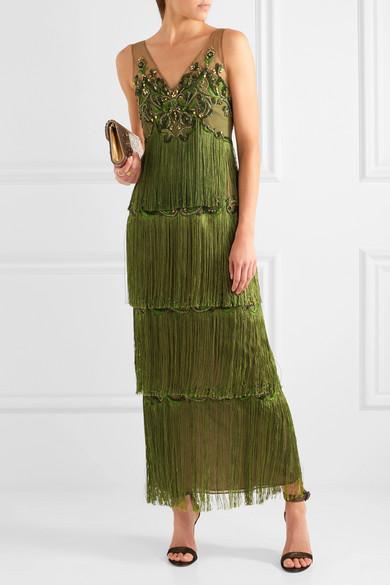 Marchesa Notte | Embellished fringed tulle gown | NET-A-PORTER.COM