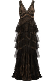 Marchesa Notte Tiered tulle and pointe d'esprit-paneled lace gown